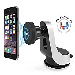 Magnetic Car Mount, Insten Easy to Install on Dashboard/Windshield, 360 Rotation Swivel Phone Holder Cradle with Suction Cup For iPhone 6/6S/SE, Galaxy S7/S7 Edge & Mini Tablets, Black/Silver
