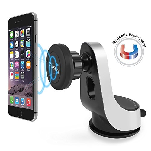 Magnetic Car Mount, Insten Easy to Install on Dashboard/Windshield, 360 Rotation Swivel Phone Holder Cradle W/ Suction Cup For iPhone 7/7 Plus/6S Plus,Galaxy S7 Edge & Mini Tablets,Black/Silver