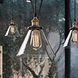 Buyee® Industrial Edison Iron Body Glass Shade Loft Coffee Bar Kitchen Hanging Pendant Lamp