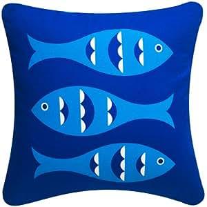 Amazon.com: Wabisabi Green Blue Fish Decorative Modern Organic Cotton Square Throw Pillow Cover ...