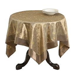 SARO LIFESTYLE XJ511 Sevilla Square Table Topper, 60-Inch, Olive