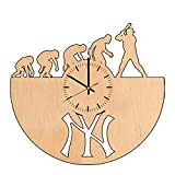 New York Yankees natural wood wall clock - Get unique home wall decor - Gift ideas for men, boys, children- Unique Sport art - Leave us a feedback and win your custom clock