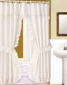 DOUBLE SWAG SHOWER CURTAIN, LINER & RINGS , White