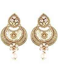 I Jewels Traditional Gold Plated American Diamond Earrings For Women E2323FL (Gold)
