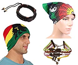 Sushito Warm Unisex Winter Woolen Cap With Stylish Headwrap & Wrist Band
