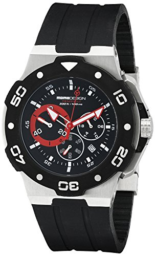 MomoDesign Tempest Men's 46mm Chronograph Black Silicone Watch MD1004-01BKRD-R