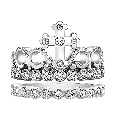 Cross Crown Ring and Band Set - Sterling Silver with CZ (Rhodium-plated)