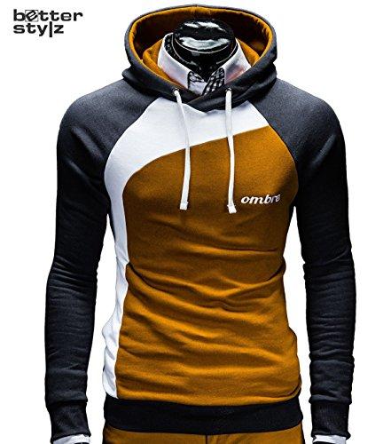 Kapuzenpullover Pullover Hoodie Sweatshirt Miguel Colorblock div. Farben (SXXL) (L, Caramel/Weiss/Schwarz) Picture