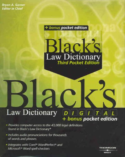 Black's Digital Law Dictionary 8th Ed + Black's Law Dictionary, Pocket 3rd Ed