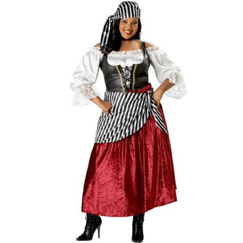 InCharacter Costumes Women's Plus-Size Pirate's Wench Adult Plus Size, Black/Burgundy, 2X