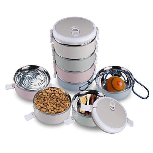 Portable Pet Bento Bowl Set Leak Proof Pet Water Bowl 4 Stainless Steel Pet Bowls Portion Control Dog Cat Travel Bowls Pet Food Treats Ropes Containers with Collapsible Handles for On-the-go Feeding (Dog Food Storage Stainless Steel compare prices)