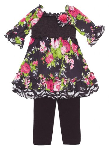Size-3T, Fuchsia, Fuchsia And Black Floral Print Ity Smocked Legging Set, Rare Editions Girls 2T-6X, Rre-Pants-Clothing-Sets back-1046573