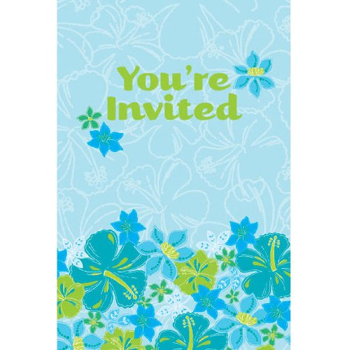 Blue Hawaiian Luau Invitations - 1