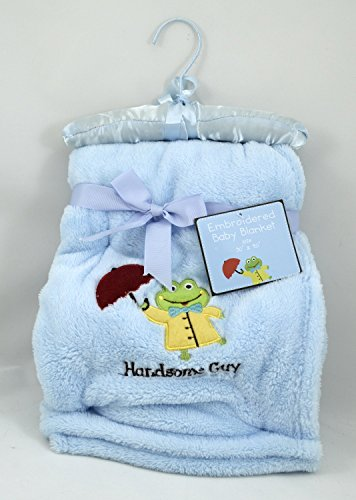 Handsome Guy - Ultra Soft Embroidered Baby Blanket - Baby Blue - 30x40 Inches