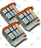 12 Chipped Compatible Canon PGI-5 & CLI-8 Ink Cartridges for Canon Pixma iP3500 Printer
