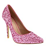 Womens Prom Crystals Bridal High Heels Party Stiletto Heel Court Shoes Fushia 10 B(M) US
