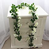 Rose Garland Artificial Rose Vine with Green Leaves 63 Inch Pack of 3 Flower Garland For Home Wedding Decor(white)
