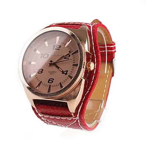 Unisex Big Dial Wide PU Leather Band Student Style Quartz Wrist Watch - Red