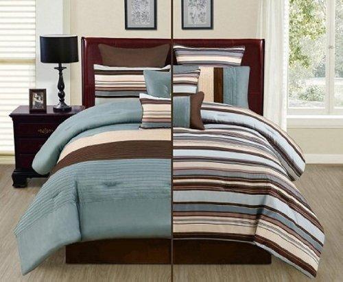 8Pc Reversible Luxury Comforter Bed In Bag Bedding Set, Full, Blue/Brown/Beige front-28225