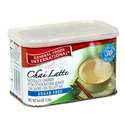General Foods International Sugar Free Chai Latte Drink Mix, 4.4-Ounce Tins (Pack of 6)