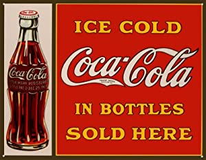 1865 Extra Large Ice Cold Coca Cola In Bottles Sold Here Metal Advertising Wall Sign Retro Art by SIGNS 2 ALL LTD