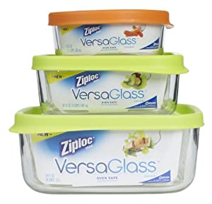 Ziploc VersaGlass Container, Variety Pack, 3-Count