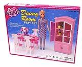 (ドールハウス) 豪華 ヨーロッパ風 1/6 ドールサイズ ミニチュア ドールハウス 家具 セット 人形 バービー、ジェニー、ブライス等に (テーブル イス 食器棚セット)