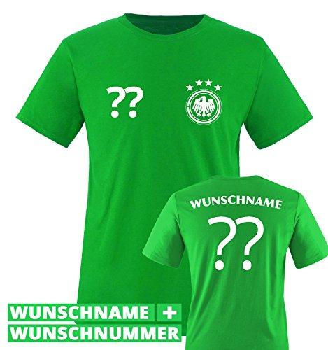 TRIKOT – DE – WUNSCHDRUCK – Kinder T-Shirt – Grün / Weiss Gr. 122-128