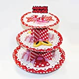 12in 3 Tier Minnie Mouse Polka Dot Cupcake Stand