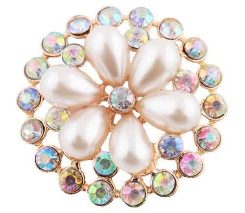 Ladies Gold with Metallic White & Clear AB Iced Out Sun Wheel Pearl Flower Style Collar Brooch & Pin