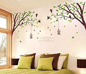Green Garden Series Green trees Birdcage Swallow 205AB DIY wall stickers living room bedroom decorative wall stickers from Ufingo