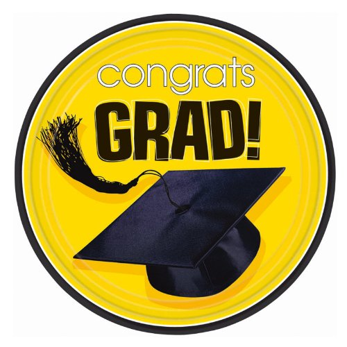 Congrats Grad Yellow Dessert Plates 18ct