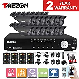TMEZON NEW 16CH 1080N AHD Video DVR Security System 16 AHD 2.0MP 130ft Super Night Vision 42 IR LEDs Indoor/Outdoor Security Camera Transmit Range P2P/QR Code with 1TB HDD