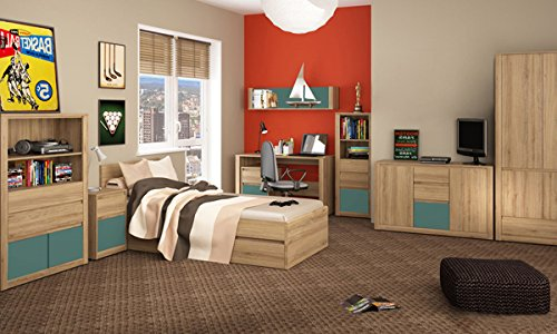 cravog modernes 9 teiliges jugendzimmer kinderzimmer in w hlbarer farbkombination bett mit. Black Bedroom Furniture Sets. Home Design Ideas