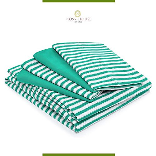 Cosy House Bamboo Bed Sheets with Stripes, Set of 6: Silky Soft, Rayon and Microfiber Blend | Wrinkle Free Sets | 1 Extra Deep Pocket Fitted Sheet, 1 Flat Sheet & 4 Pillowcases, QUEEN, Green (Bombay Dyeing Bed Sheets compare prices)