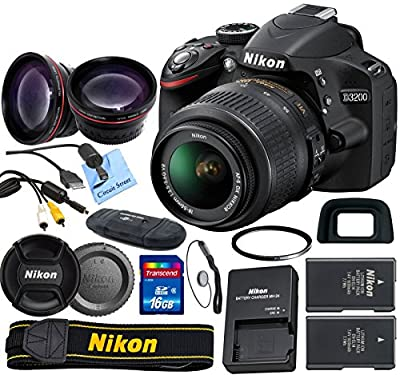 Nikon D3200 24.2 MP CMOS Digital SLR with 18-55mm f/3.5-5.6 AF-S DX VR NIKKOR Zoom Lens & Picture Perfect Package (International Model no Warranty)