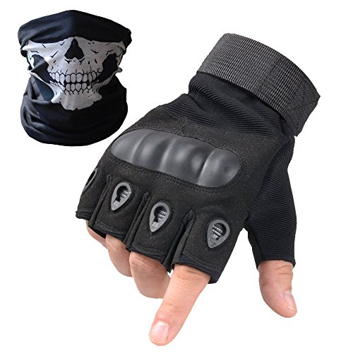 Tactical Gloves - Men's Wear-resistant Military Airsoft Gloves for Sporting Shooting Paintball Hunting Riding Motorcycle - Bundled With Skull Face Tube Mask£¨Solildshell Fingerless Black,L) (British Army Clothes compare prices)