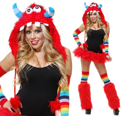 Charades Adult Red Rave Monster Costume Furry Hood Hat