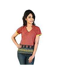 Jaipur RagaExclusive Hand Block Printed Red Cotton Kurti Red Girls Kurti