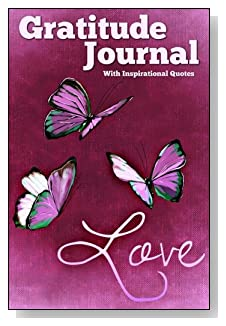 Gratitude Journal With Inspirational Quotes - Love and purple butterflies decorate the cover of this 5-minute gratitude journal for busy people.
