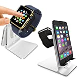 Orzly® – DuoStand Charge Station for Apple Watch & iPhone – Aluminum Desk Stand Cradle in SILVER with Built-In Insert Slots for both Grommet Wireless Charger and Lightning Cable for use as a fully functional Charging Dock for both your Apple Watch & iPhone Simultaneously – Fits iPhone Models: 5 / 5S / 5C / 6 / 6 PLUS and both 42mm & 38mm sizes of 2015 Watch Models (Original BASIC Model / SPORT Version / and EDITION Models)