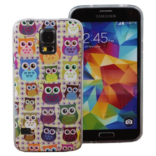 Teenitor(Tm) Stylish Cute Fat Owls Soft Tpu Protective Case For Samsung Galaxy S5 I9600 + Screen Protector + Stylu + Fish Earphone Cable Organizer