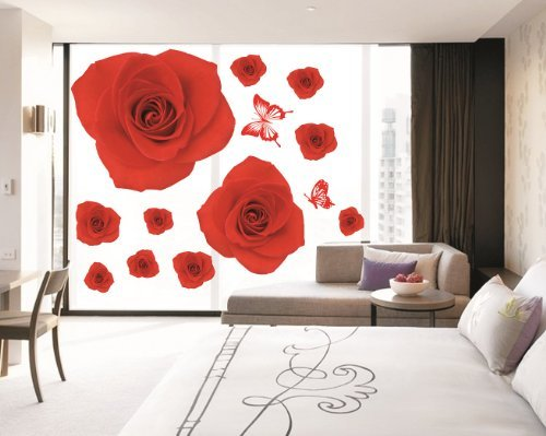 Kappier Bright Romantic Red Roses Peel and Stick Removable Wall Decals - 1