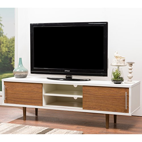 Baxton Studio Gemini Wood Contemporary TV Stand, White (Mid Century Tv Stand compare prices)