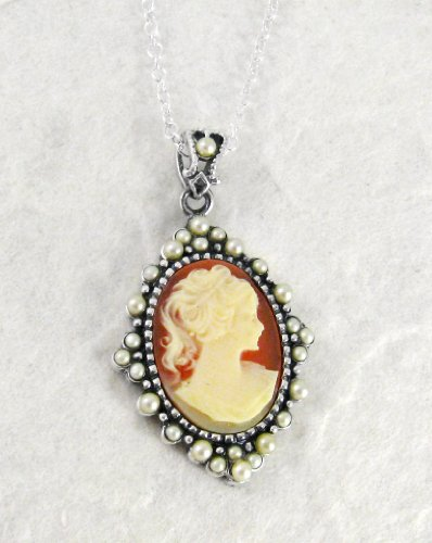 Sterling Silver Elegant Coral Cameo and Pearlized Beads Frame Pendant Necklace, 16-18