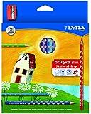 LYRA Groove Slim Child-Grip Pencils, 3.3 Millimeter Cores, Includes Sharpener, Set of 24 Pencils, Assorted Colors (2821240)