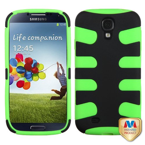 Fits Samsung I337 I9500 Galaxy S 4 Hard Plastic Snap On Cover Rubberized Black/Electric Green Fishbone At&T