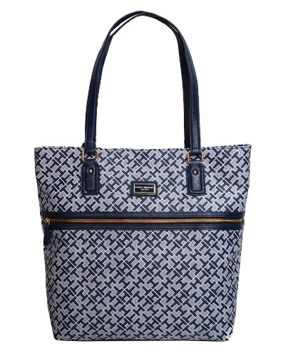 Tommy Hilfiger Handbag, Coated Canvas Tote in Navy Blue/White