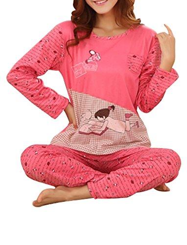 VENTELAN Women's Cartoon Print Loungewear Long Sleeve Pajamas Set With Pocket