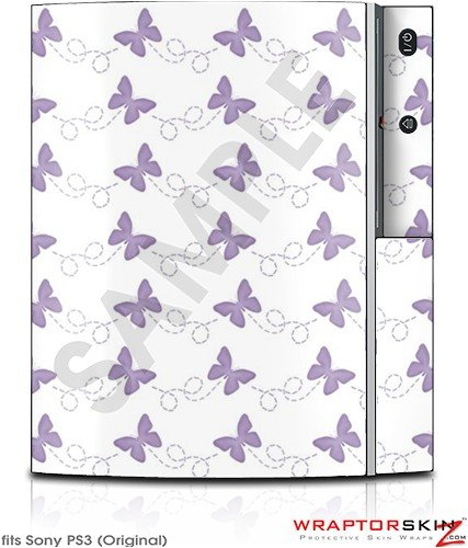 Sony PS3 Skin Pastel Butterflies Purple on White